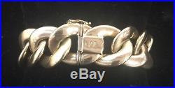 Vintage Heavy Solid 14K Gold Link Bracelet 6 3/4 Long 3/4 Wide 45 Grams