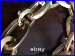 Vintage Italian 18K Yellow Gold Chunky Fancy Link Bracelet 9 3/4, Wide 1