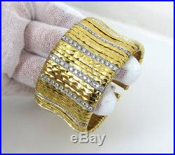 Vintage Italian 3.0ct Diamond & 18K White & Yellow Gold Wide Cuff Bangle