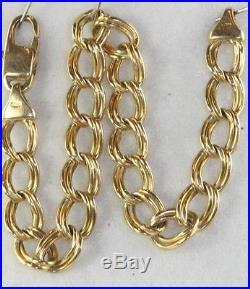 Vintage Italian Italy 14k Gold Double Wide Link Charm Bracelet