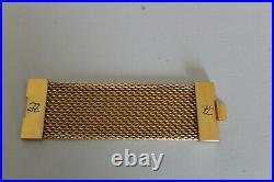 Vintage Karl Lagerfeld Couture Wide Mesh Bracelet W Logo Gold Tone Cuff