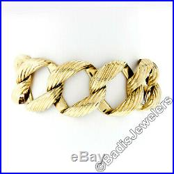 Vintage Large 14k Yellow Gold Grooved 1 Wide Textured Curb Link Chain Bracelet