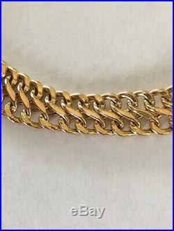 Vintage MILOR Italy Solid 14K Yellow Gold Wide Chain Bracelet 6.26g 7
