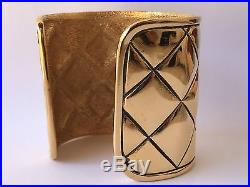 Vintage MINT Chanel Iconic Quilted Pattern 2.5 Wide Runway Cuff Bracelet NOS