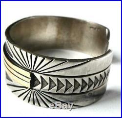 Vintage MM Rogers Navajo Mens Unisex Sterling 14k Gold Wide Cuff Bracelet Heavy