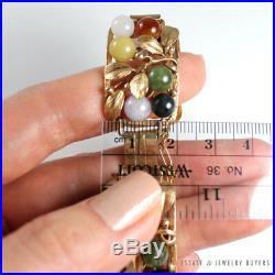 Vintage Mings Hawaii Jade Bead Multi Color 2cm Wide 14k Yellow Gold Bracelet