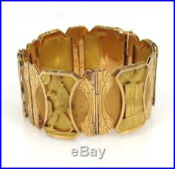 Vintage Peruvian Revival 18K Yellow & Green Gold Hand Carved Wide Bracelet