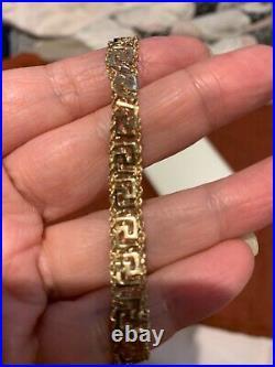 Vintage RCI 14k yellow gold mesh bracelet unique design 7 long 8mm wide