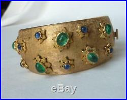 Vintage Retro Deco 14k Gold Emerald+Sapphire Cabochon Wide Cuff Bracelet54.4 gr