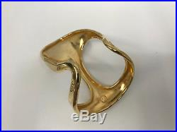 Vintage Robert Lee Morris Cut Out Cuff Bracelet Gold Tone Metal Wide & Large