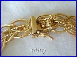 Vintage Solid 14K Yellow Gold Wide Woven Mesh Bracelet 20.3 grms, 7 inch