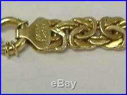 Vintage Solid 14 K Gold 9 MM Wide 3 D Byzantine Style Bracelet 7.25 Long