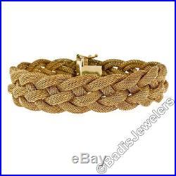 Vintage UNOAERRE 7 Italian 14k Yellow Gold Wide Braided Open Mesh Link Bracelet