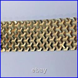 Vintage Unique Link 14k Yellow Gold 1 3/8 Wide Mesh Bracelet 7 1/2 68.8 Gr