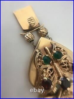 Vintage Victorian 14k Gold Wide Slide Charm Bracelet Amethyst Butterfly Snake