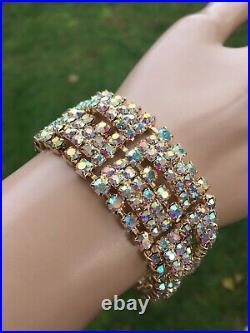 Vintage Wide Pink Aurora Borealis Rhinestone Bracelet