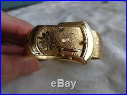 Vintage Wide Simmons Chased Floral Belt Buckle Gold Filled Bangle Cuff Bracelet