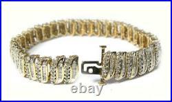Vintage Women's 7.26CT Diamond Tennis WIDE Bracelet 10K Yellow Gold HEAVY 19.2 g