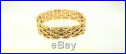Vintage Yellow Gold Bracelet 14K 8 inch 3/4 Wide Rose Tint