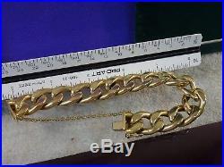 Vintage estate 18k gold 750 heavy wide link mens womens bracelet 7 3/8