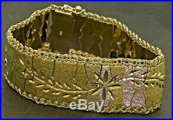 Vintage heavy 18K gold flat 22.5mm wide fancy bright cut floral link bracelet