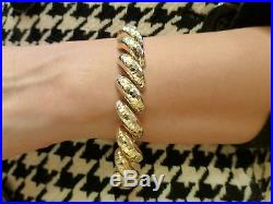 Vintage modernist chunky heavy 26.8g 14k yellow gold bracelet San Marco wide Mid