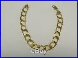 Vntge Solid 10 K Gold 9 MM Wide Cuban Lnk Style Men's Bracelet 8 Long, Reversab