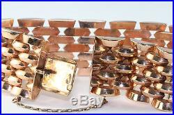 Vtg 1940's Retro 14k Rose Pink Gold Wide Gate Bracelet 50.4 Grams
