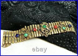 Vtg VICTORIAN Triple Dragon Asian Bamboo Gold Filled Wide Bracelet Jade Gemstone