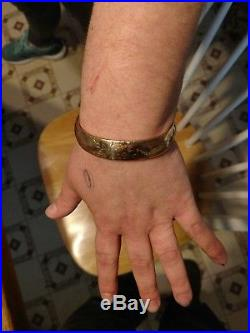 WIDE 13mm DECO DESIGN BANGLE BRACELET REAL 14k YELLOW GOLD