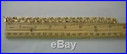 WIDE AND HEAVY Vintage 14k Gold TRIPLE LINK CHARM BRACELET 7.25 In 16.1 G #19017