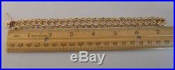 WIDE & HEAVY Vintage 14k Gold BEADED LINK CHARM BRACELET 7.25 In 22.9 Gr #20024