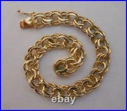 WIDE & HEAVY Vintage 14k Gold DOUBLE LINK CHARM BRACELET 7 1/8 In 22.9 Gr #20014
