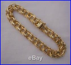 WIDE & HEAVY Vintage 14k Gold DOUBLE LINK CHARM BRACELET 7.25 In 20.6 Gr #19004