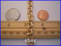 WIDE & HEAVY Vintage 14k Gold DOUBLE LINK CHARM BRACELET 7.5 In 20.5 Gr #21008