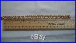 WIDE & HEAVY Vintage 14k Gold DOUBLE LINK CHARM BRACELET 7.5 In 30.3 Gr #18004