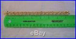 WIDE & HEAVY Vintage 14k Gold DOUBLE LINK CHARM BRACELET 7.5 In 32.5 Gr #18035