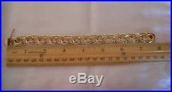 WIDE & HEAVY Vintage 14k Gold DOUBLE LINK CHARM BRACELET 7.5 In 39 Gr #19008