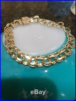 WIDE & HEAVY Vintage 14k Gold DOUBLE LINK CHARM BRACELET 8.5 Inches and 19.8 Gr