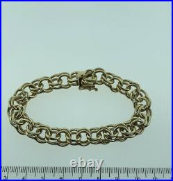 WIDE & HEAVY Vintage 14k Gold DOUBLE LINK CHARM BRACELET 8 Inches 37 Grams