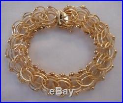 WIDE HEAVY Vintage 14k Gold FANCY BEAD LINK CHARM BRACELET 7.75 In 36.2 G #17172