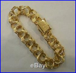 WIDE & HEAVY Vintage 14k Gold TRIPLE LINK CHARM BRACELET 7.25 In 26.0 Gr #19095