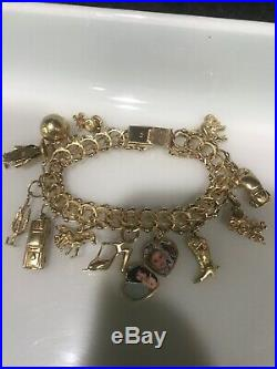 WIDE & VERY HEAVY Vintage 14k Gold DOUBLE LINK CHARM BRACELET 7.5 In 53.1 Grams