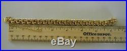 WIDE & VERY HEAVY Vintage 14k Gold DOUBLE LINK CHARM BRACELET 7.5 In 58 G #19011