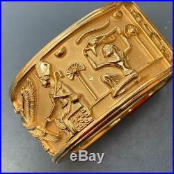 WIDE VTG Elizabeth Taylor Egyptian Revival Cleopatra Heavily Gold plated Bangle