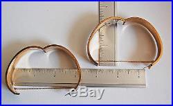 WIDE Victorian BANGLE BRACELETS 14K Gold / Greek Key Design / pair (4T24)