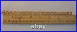 WIDE Vintage 14k Yellow Gold TRIPLE LINK CHARM BRACELET 7.5 In 15.1 Gr #21004
