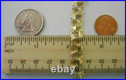WIDE Vintage 14k Yellow Gold TRIPLE LINK CHARM BRACELET 7.5 In 15.2 Gr #20054