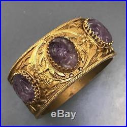 WIDE Vtg Chinese Gold Gilt Carved Amethyst Bangle Bracelet