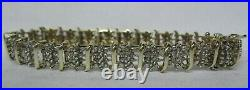 Wide 10k Solid Gold 1.50 Ct. Genuine 7 Diamond Tennis 9mm Bracelet 14.5 Grams